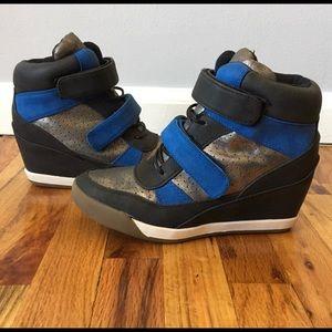 Shoe dazzle Black/Silver/Blue Sneaker Wedges